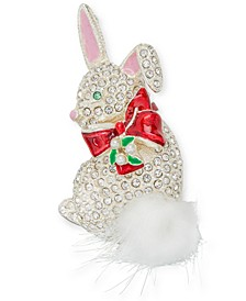 Silver-Tone Pavé & Imitation Pearl Bunny Pin, Created for Macy's