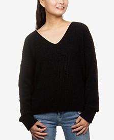 Juniors' V-Neck Chenille Sweater