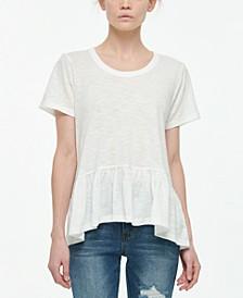 Juniors' Short-Sleeve Peplum T-Shirt
