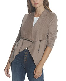 Asymmetrical Faux-Suede Jacket