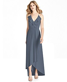 Ruffled Chiffon High-Low Gown