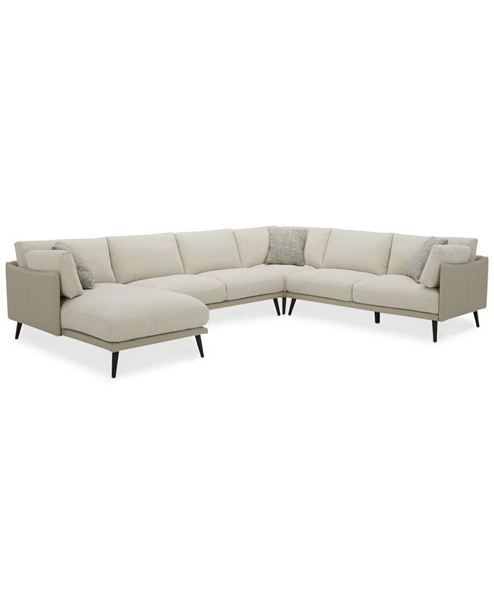 Furniture - Marleese 4-Pc. Fabric and Leather Sectional with Chaise