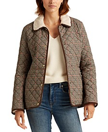 Houndstooth Corduroy-Trim Quilted Jacket