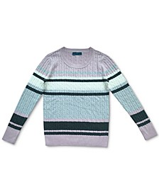 Striped Cable-Knit Cotton Sweater, Created for Macy's