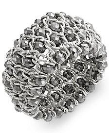 I.N.C. Bracelet, Silver-Tone Chain and Bead Stretch Bracelet