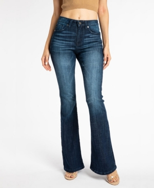 Kancan Women's Mid Rise Flare Jeans