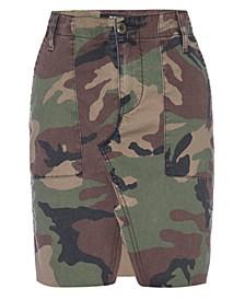 Camouflage-Print Denim Skirt