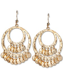 Gold-Tone Shaky Disc Hammered Drop Hoop Earrings, Created for Macy's