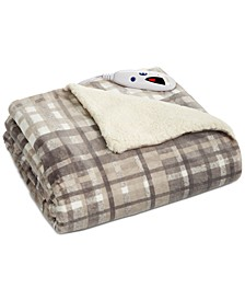 Plaid Heated Velour/Fleece Throw