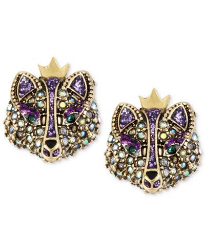 Betsey Johnson Gold-Tone Crystal Fox Stud Earrings
