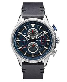 Men's Hawker Hunter Gray Genuine Leather Strap Watch, 45mm