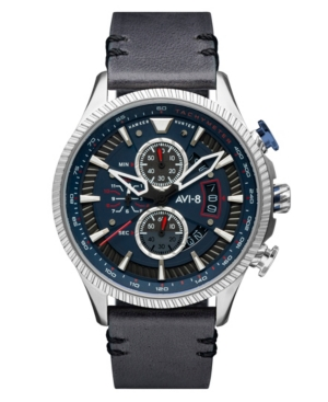 Men's Hawker Hunter Gray Genuine Leather Strap Watch