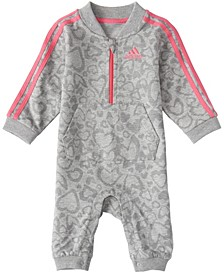 Baby Girls Long Sleeve Leo Print French Terry Coverall