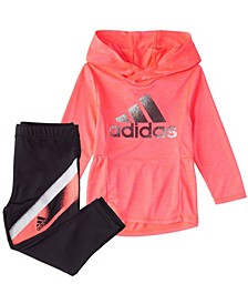 Baby Girls Long Sleeve Mélange Hooded Top & Tight Set
