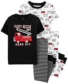Baby Boy  4-Piece Firetruck Snug Fit Cotton PJs