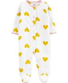 Baby Girl  Hearts Snap-Up Fleece Sleep & Play