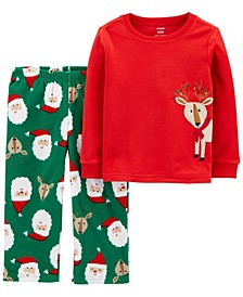 Baby Boy or Girl 2-Pc. Fleece Santa & Reindeer Pajama Set
