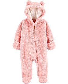 Baby Girl  Hooded Sherpa Pram