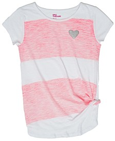 Short Sleeve Knotted Front Block Striped Tee