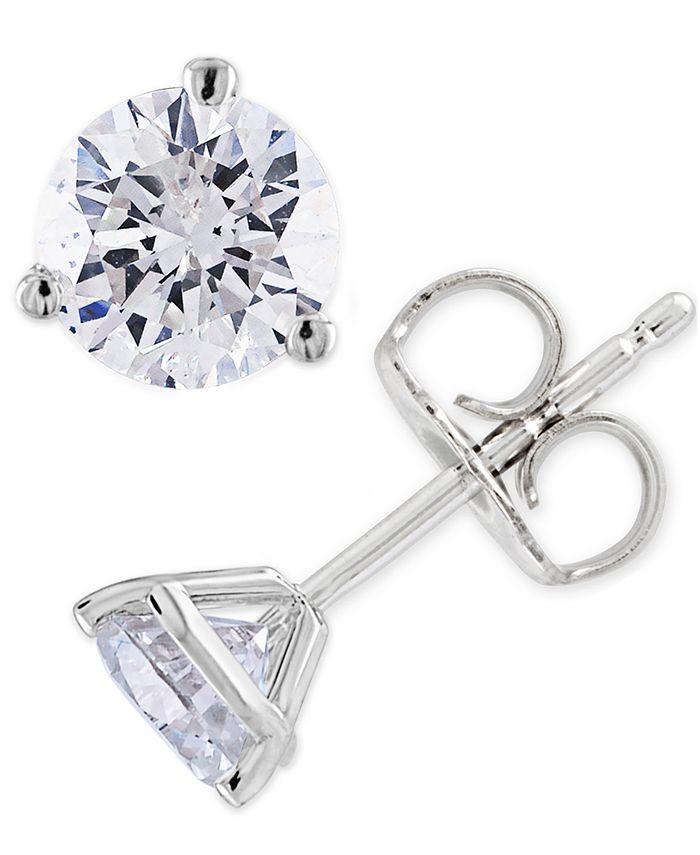 Macy's - Certified Diamond (3/4 ct. t.w.) Stud Earrings in 14K White or Yellow Gold