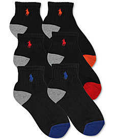 Polo Ralph Lauren 6-Pk. Color-Blocked Quarter Low-Cut Socks, Little Boys & Big Boys