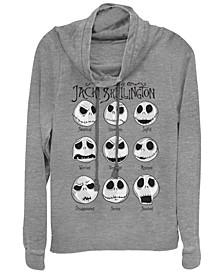 Women's Nightmare Before Christmas Jack Emotions Fleece Cowl Neck Sweatshirt