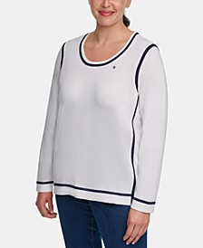 Plus Size Cotton Contrast-Tipping Sweater