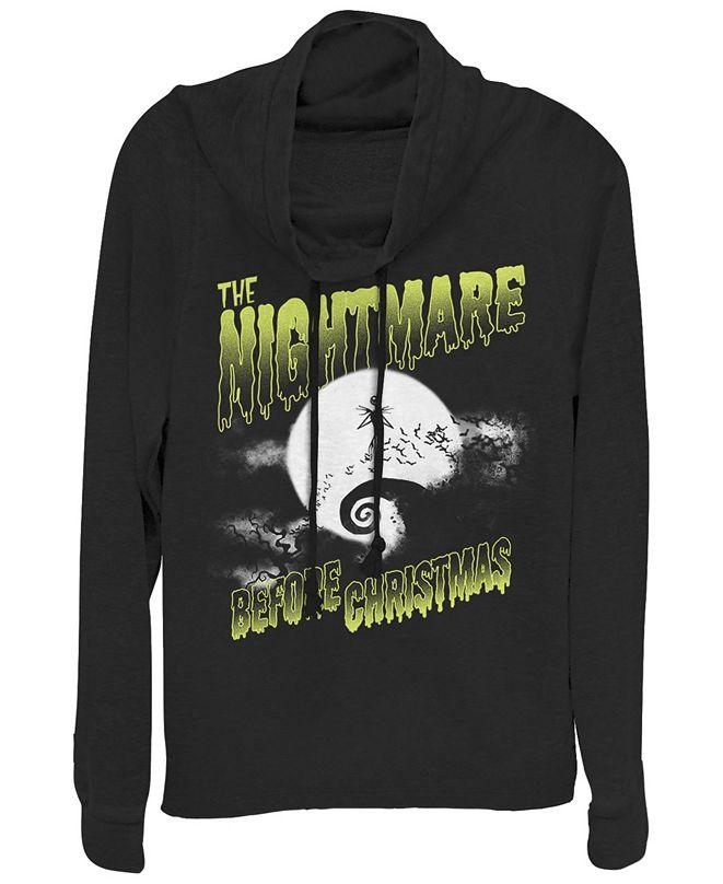Fifth Sun Women's Nightmare Before Christmas Spooky Nightmare Fleece Cowl Neck Sweatshirt