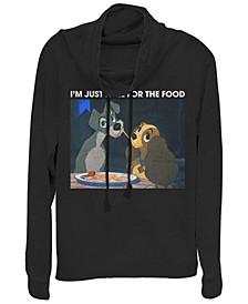 Women's Lady and the Tramp Meme Fleece Cowl Neck Sweatshirt