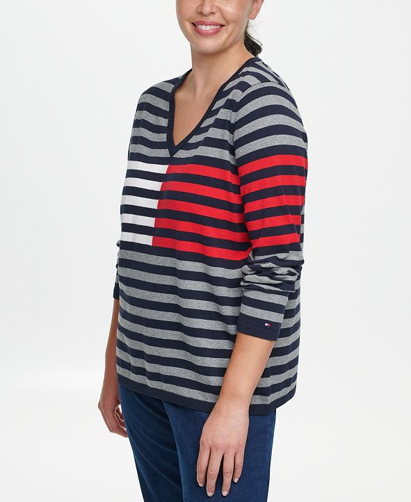 Tommy Hilfiger Plus Size Ivy Cotton Striped Flag Sweater