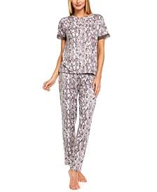Shania Snake-Embossed Pajama Set