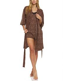 3-Pc. Leopard-Print Robe, Cami & Tap Shorts Travel Sleep Set