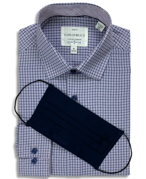 Con. Struct Men's Slim-Fit Performance Stretch Cooling Comfort Purple Gingham Check Dress Shirt