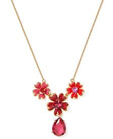 "Gold-Tone Stone Flower Trio Pendant Necklace, 16"" + 3"" extender"