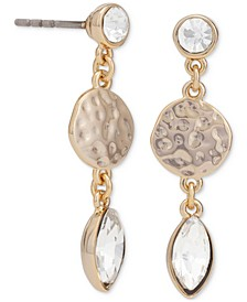 Gold-Tone Crystal & Hammered Disc Drop Earrings