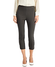 Plus Size Fringed-Hem Solid Ankle Pants, Created For Macy's