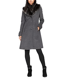Petite Faux Fur–Trim Wool-Blend Coat, Created For Macy's