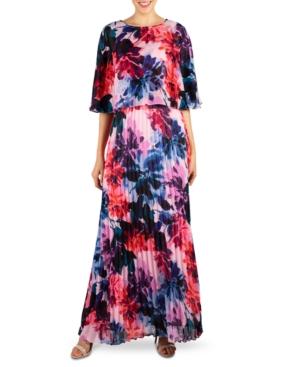 Donna Ricco Pleated Maxi Dress & Popover Shrug In Pink Multi