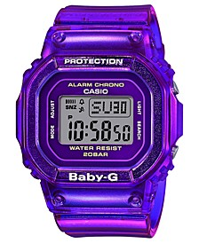 Women's Digital Purple Jelly Strap Watch 40x40mm