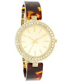 INC Women's Gold-Tone & Tortoise-Look Bracelet Watch 37mm, Created for Macy's