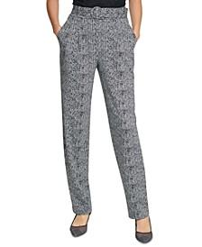 Belted Tweed Skinny Pants