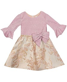 Baby Girls Glitter Knit Bell Sleeve Bodice To Floral Jacquard Skirt