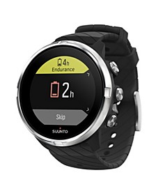 9 Men's G1 Black Silicon Strap GPS Sports Long Battery Life Watch, 50mm