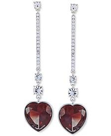Crystal & Stone Heart Linear Drop Earrings