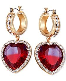 Pavé & Stone Heart Charm Hoop Earrings
