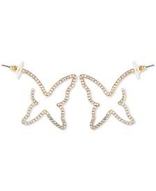 Crystal Butterfly Outline Hoop Earrings