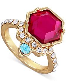 Gold-Tone Crystal Fuchsia Statement Ring