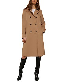 Cheque Double-Breasted Trench Coat