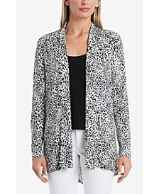 Women's Open Front Iced Leopard Printed Cardigan