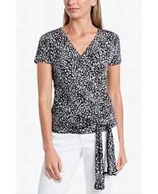 Women's Cap Sleeve Iced Leopard Faux Wrap Tie Waist Top